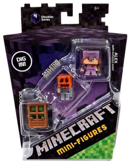 Minecraft Obsidian Series 4 Alex with Enchanted Armor Skeleton with Pumpkin Armor Zombie At Door Mini Figure 3-Pack Mattel Toys - ToyWiz