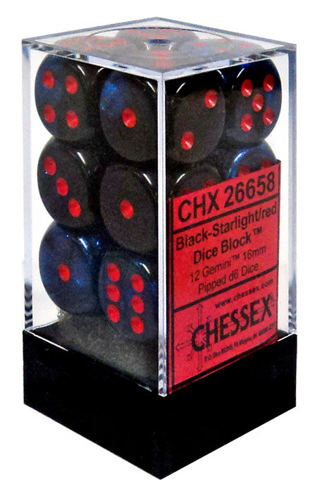 Chessex 6-Sided d6 Gemini 16mm Dice Pack #26658 [Black-St...