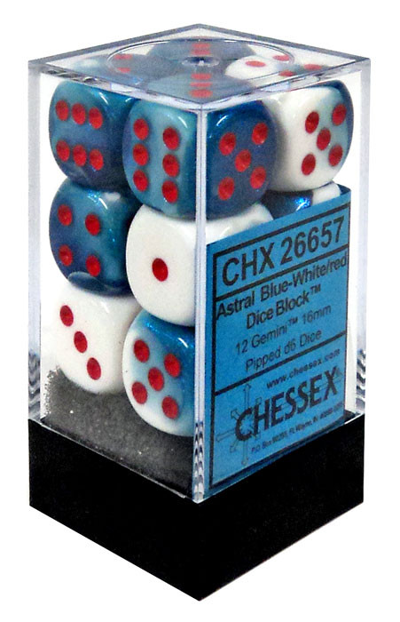 Chessex 6-Sided d6 Gemini 16mm Dice Pack #26657 [Astral B...