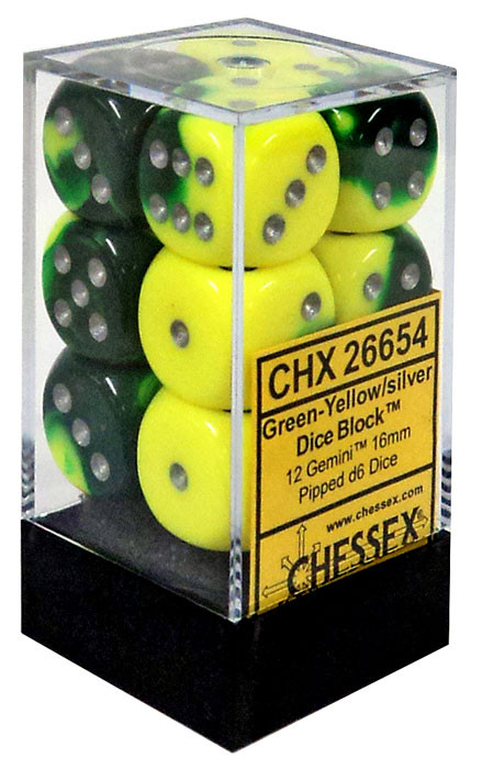 Chessex 6-Sided d6 Gemini 16mm Dice Pack #26654 [Green-Ye...