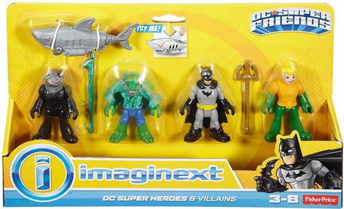 Fisher Price DC Super Friends Imaginext Batman Heroes Villains K. Croc, Black Manta, Batman ...
