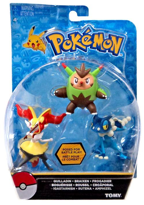 Pokemon Action Pose Quilladin Braixen Frogadier 3 Mini