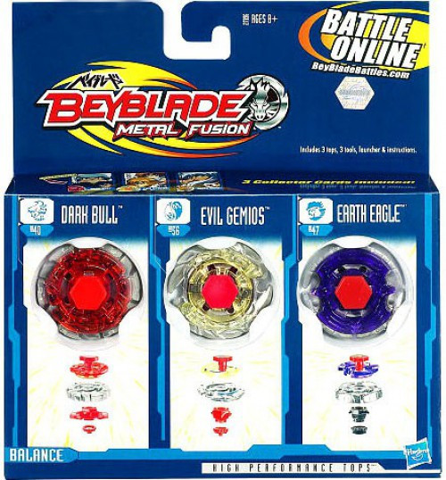 Hasbro Beyblade Metal Fusion Earth Eagle, Evil Gemios & D...