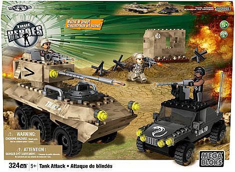 Mega Bloks True Heroes Build & Play Tank Attack Set [Dama...