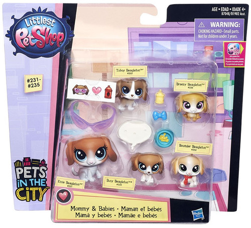 Hasbro Littlest Pet Shop Mommy & Babies Beagles Mini Pet ...
