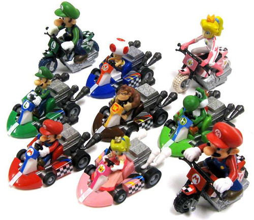 TOMY Super Mario Mario Kart Complete Set of all 9 Pull Ba...