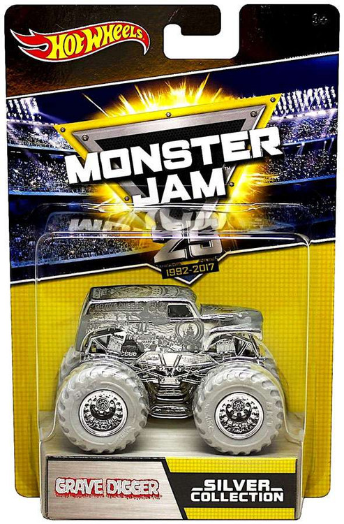 hot wheels monster jam 25 silver collection grave digger 155 diecast car mattel toys toywiz. Black Bedroom Furniture Sets. Home Design Ideas