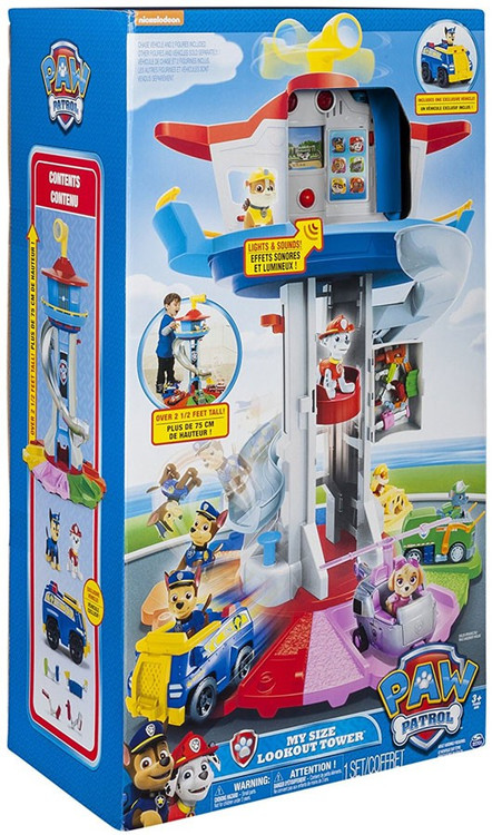 Spin Master Paw Patrol – My Size Lookout Tower with Exclusive Vehicle, Rotating Periscope and Lights and Sounds