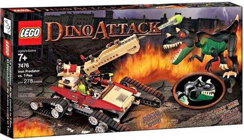 lego dino attack iron predator vs  t-rex set 7476