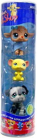 Hasbro Littlest Pet Shop Lamb, Yellow Mouse & Gray Bulldo...