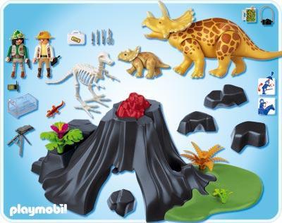 Playmobil dinos triceratops with baby set 4170 toywiz for Playmobil dinosaurios