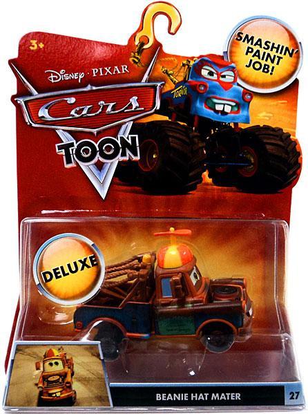disney cars cars toon deluxe oversized beanie hat mater 155 diecast car mattel toys