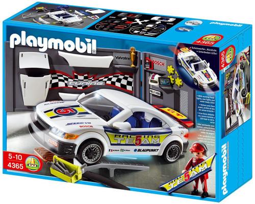 Playmobil Police Car Repair Shop and Race Car with Headli...