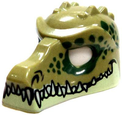 Lego Olive Green Crocodile Helmet with Teeth and Green Sp...