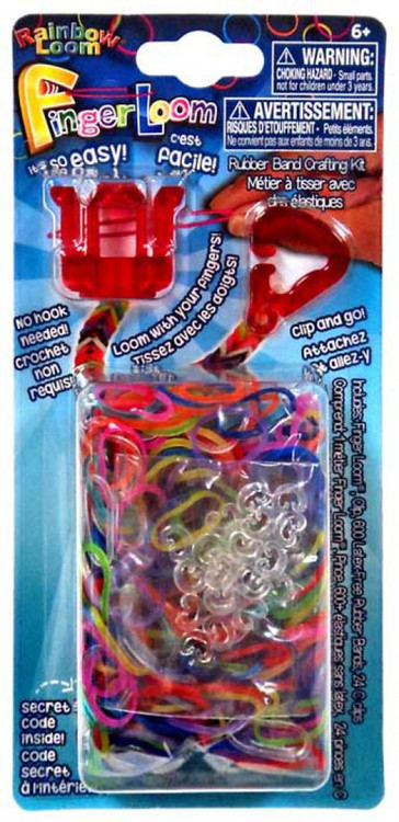 Rainbow Loom Finger Loom Rubber Band Crafting Kit [Red]