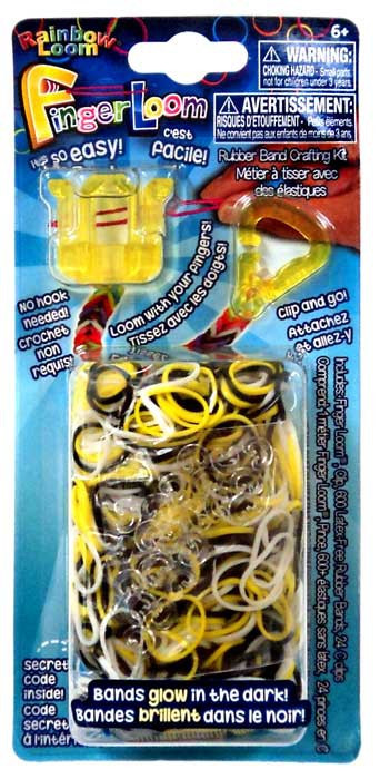 Rainbow Loom Finger Loom Rubber Band Crafting Kit [Yellow]