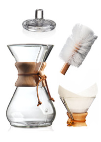8 cup Chemex Set. Includes 8 cup Chemex, cover, nylon brush and pre-folded square filters.