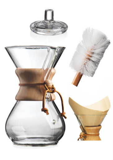 6 cup Chemex Set. Includes 6 cup Chemex, cover, nylon brush and pre-folded square filters (natural).