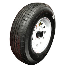 (Contender) 13 Inch 6 ply Radial Trailer Tire & Wheel - ST 175/80R13 - 5 lug (White Mod)