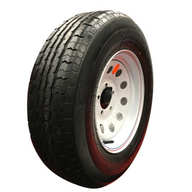 (Contender) 14 Inch 6 ply Radial Trailer Tire & Wheel - ST 205/75R14 - 5 lug (White Mod)