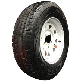 (Taskmaster) 13 Inch 6 ply Radial Trailer Tire & Wheel - ST 175/80R13 - 5 lug (White Spoke)