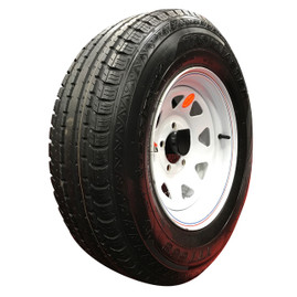 (Taskmaster) 13 Inch 6 ply Radial Trailer Tire & Wheel - ST 185/80R13 - 5 lug (White Spoke)