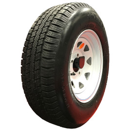(Provider) 14 Inch 6 ply Radial Trailer Tire & Wheel - ST 205/75R14 - 5 lug (White Spoke)