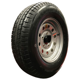 (Provider) 15 Inch 6 ply Radial Trailer Tire & Wheel - ST 205/75R15 5 Lug (White Mod)