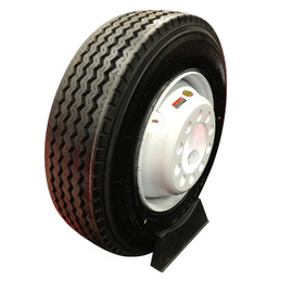 (Provider) 17.5 Inch 16 ply Radial Trailer Tire & Wheel - ST 215/75R17.5 8 Lug (White Dually Mod)
