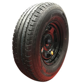 (Provider) 15 Inch 10 ply Radial Trailer Tire & Wheel - ST 225/75R15 5 Lug (Black Spoke)