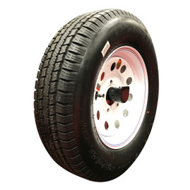 (Provider) 15 Inch 8 ply Radial Trailer Tire & Wheel - ST 225/75R15 5 Lug (White Mod)