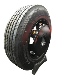 (Provider) 17.5 Inch 18 ply Radial Trailer Tire & Wheel - ST 235/75R17.5 8 Lug (Black Dually Solid)