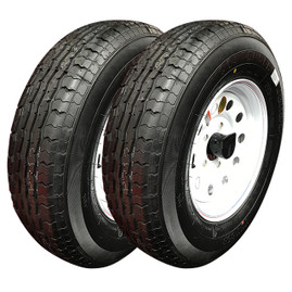 Set of 2 (Contender) 13 Inch 6 ply Radial Trailer Tire & Wheel - ST 175/80R13 - 5 lug (White Mod)