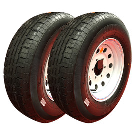 Set of 2 (Contender) 15 Inch 8 ply Radial Trailer Tire & Wheel - ST 225/75R15 - 5 lug (White Mod)