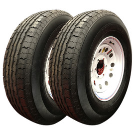 Set of 2 (Contender) 16 Inch 10 ply Radial Trailer Tire & Wheel - ST 235/80R16 - 8 lug (White Mod)