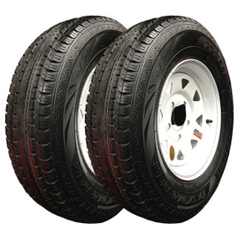 Set of 2 (Taskmaster) 13 Inch 6 ply Radial Trailer Tire & Wheel - ST 175/80R13 - 5 lug (White Spoke)
