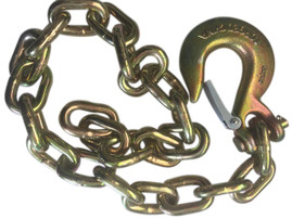 """Gold Trailer Safety Chain - 1/4 x 30"""" with 1 Clevis Hook (12.6k Capacity)"""