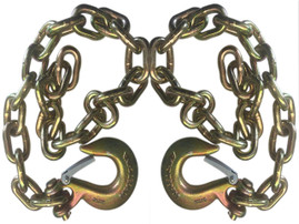 """Set of 2) Gold Trailer Safety Chain - 1/4 x 30"""" with 1 Clevis Hook (12.6k Capacity)"""