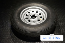 15 Inch 10 ply Radial Trailer Tire & Wheel - ST 225/75 R15 - 5 lug
