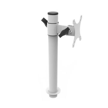 White Single Monitor Arm Mount | Side View