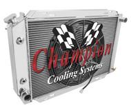 1979-1993 Ford Mustang 2 Row Champion Alum Radiator Fan Combo