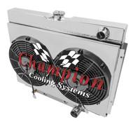 1967 68 69 70 Ford Mustang 4 Row Champion Alum Radiator Fan Shroud Combo