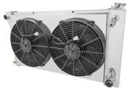 1967 68 69 70 71 72 Chevy Suburban 3 Row Alum Radiator Fan Shroud Combo