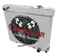 1961 62 63 64 65 66 GM C/K Truck 3 Row Alum Radiator Fan Shroud Combo