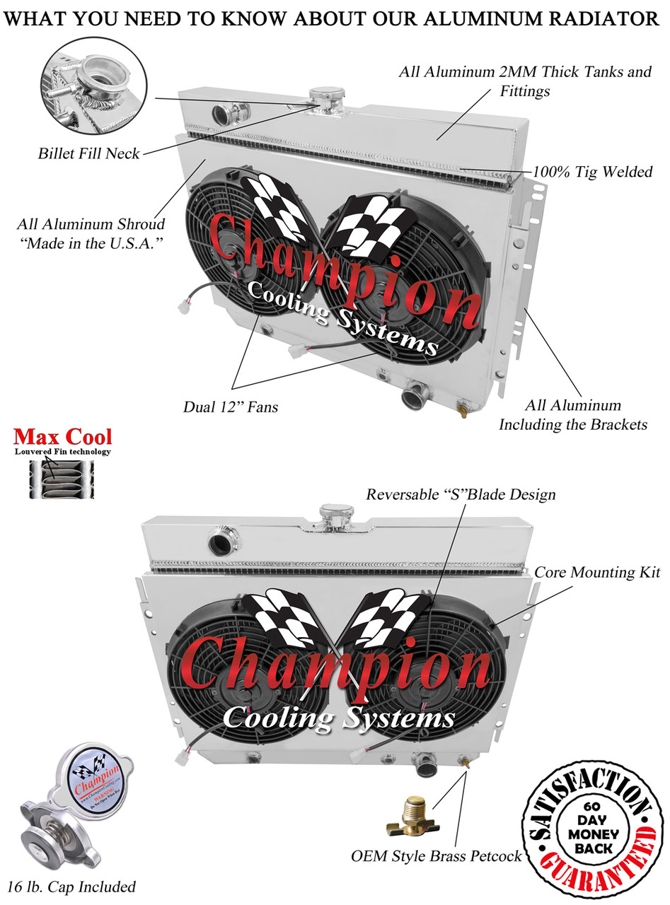 1968 Chevy Impala Radiator Diagram Electrical Wiring Diagrams Cooling Fan For 2004 1963 Chevrolet 3 Row Champion Plus Aluminum 2003 Malibu Relay Location