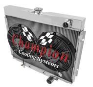 """1967 1968 1969 1970 Mercury Cougar  3 Row Aluminum Radiator + 12"""" Fans"""