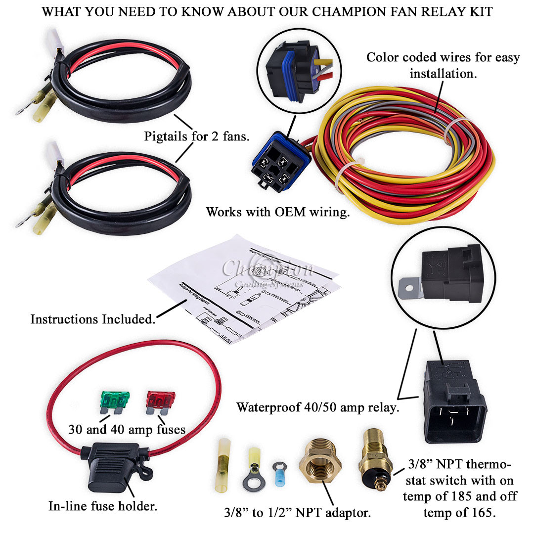 champion cooling 180 degree 40amp electric fan relay kit for single rh performancecooling com