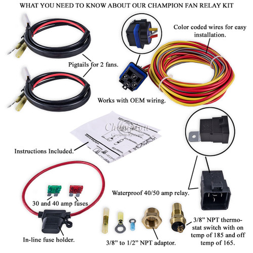 relay_diagram_white__44230.1430441156.500.659?c=2 champion cooling 180 degree 40amp electric fan relay kit for dual fan wiring harness & relay kit at readyjetset.co