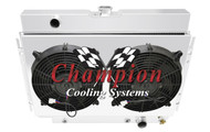 1963-1968 Chevrolet Cars 3 Row Champion Radiator For Long Power Steering Box plus shroud and Dual Fans