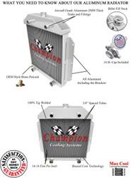 1949 50 51 52 53 Ford Cars w/Flathead Engine Champion 3 Row Core Aluminum Radiator